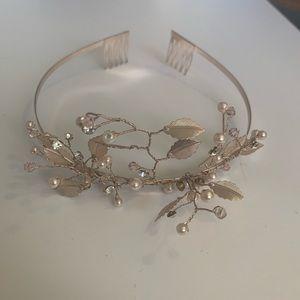 NWOT Rose Gold Branch & Pearl Tiara